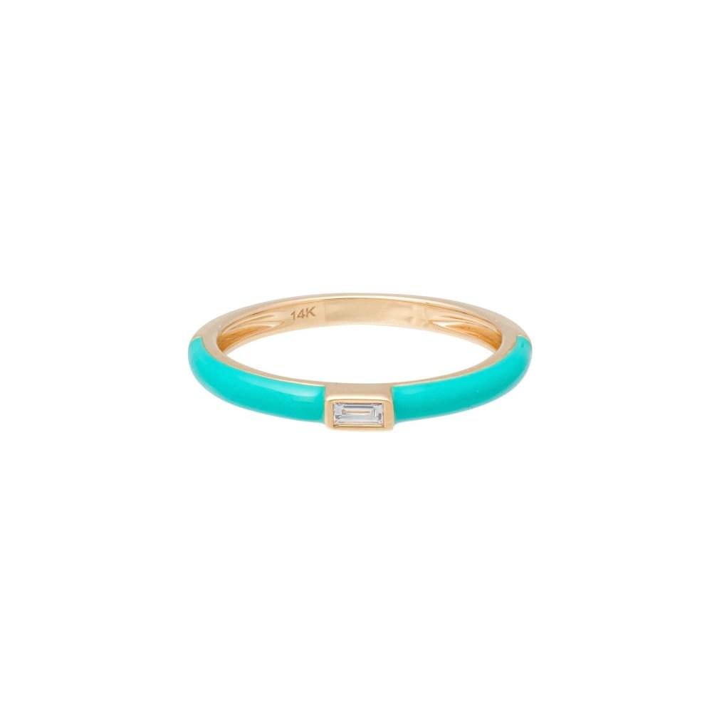 Baguette Diamond + Turquoise Enamel Stacking Ring Yellow Gold