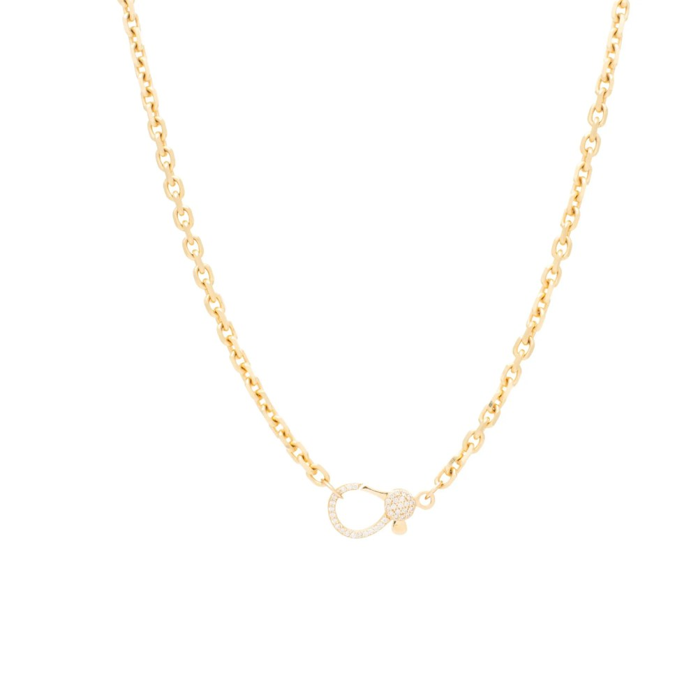 Diamond 2-Sided Lobster Clasp Cut Cable Chain Necklace Yellow Gold