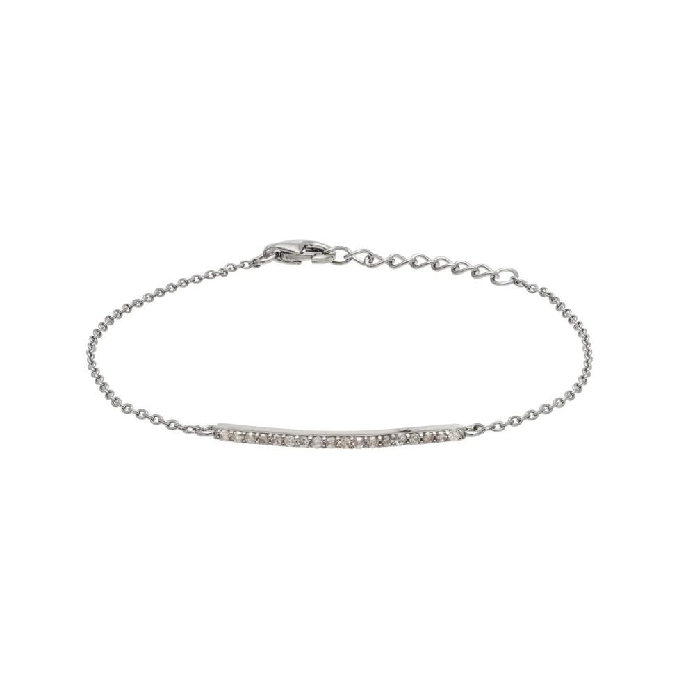 Diamond Bar Chain Bracelet Sterling Silver