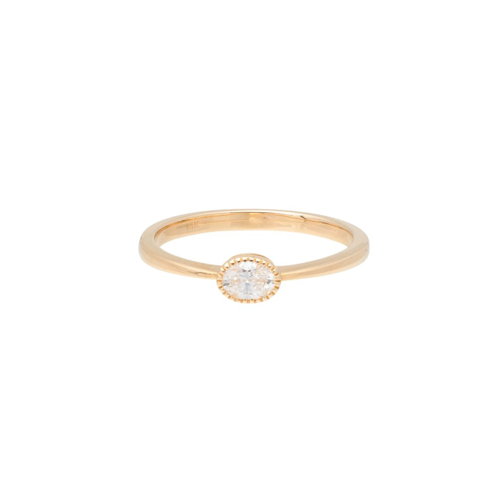 Diamond Beaded Oval Stacking Ring Yellow Gold