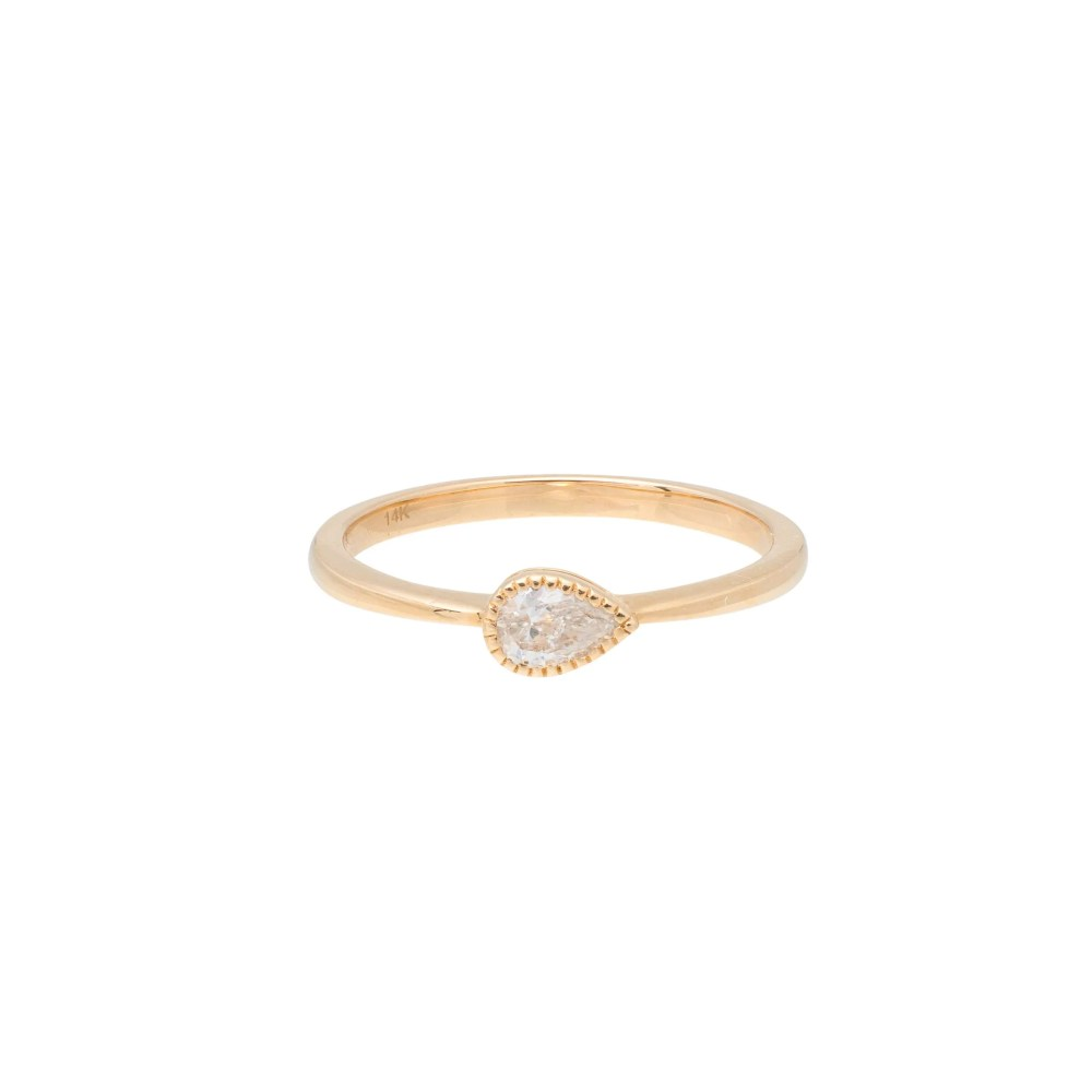 Diamond Beaded Pear Stacking Ring Yellow Gold