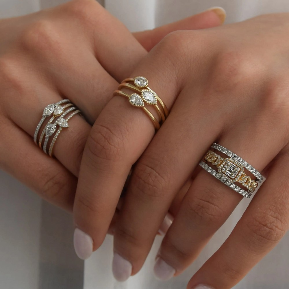 Diamond Beaded Pear Stacking Ring