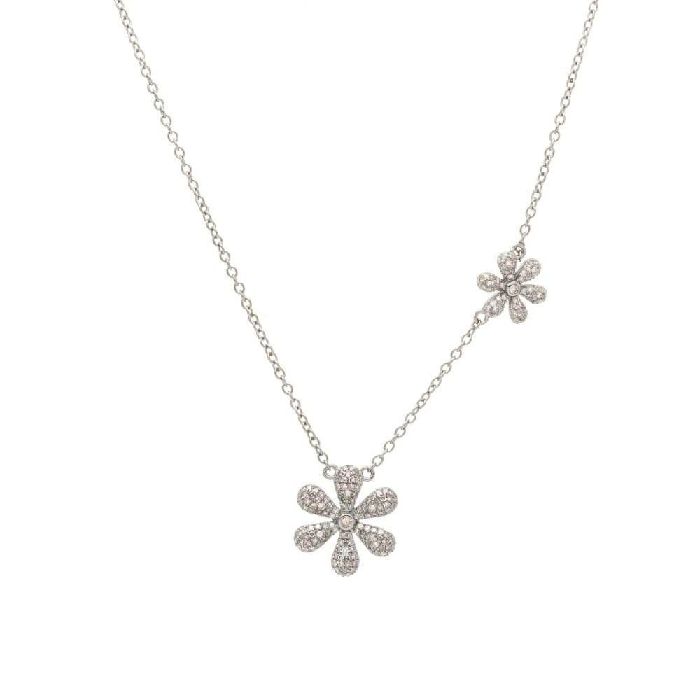 Diamond Flower Necklace Sterling Silver