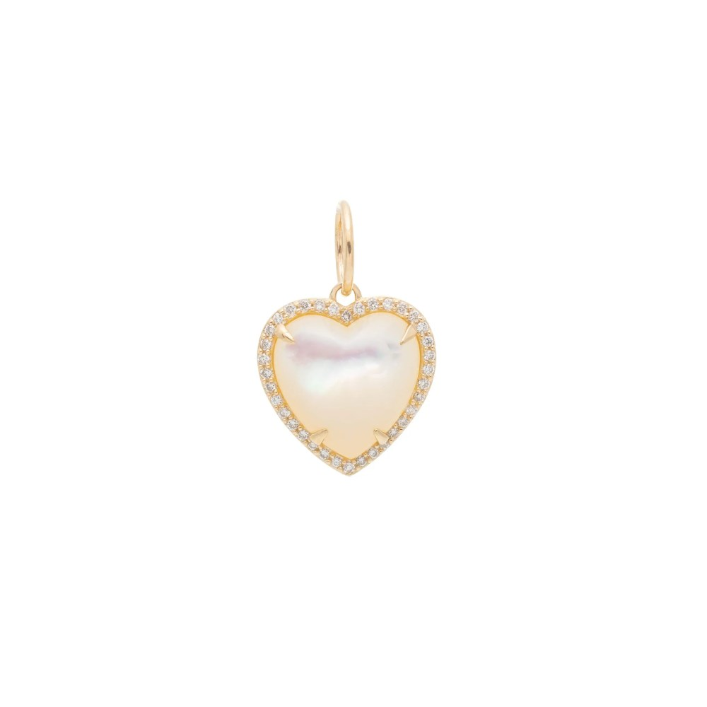 Diamond Small Puffed Mother-of-Pearl Heart Charm Yellow Gold