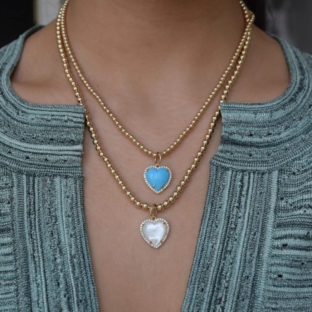 Diamond Small Puffed Turquoise Heart Charm