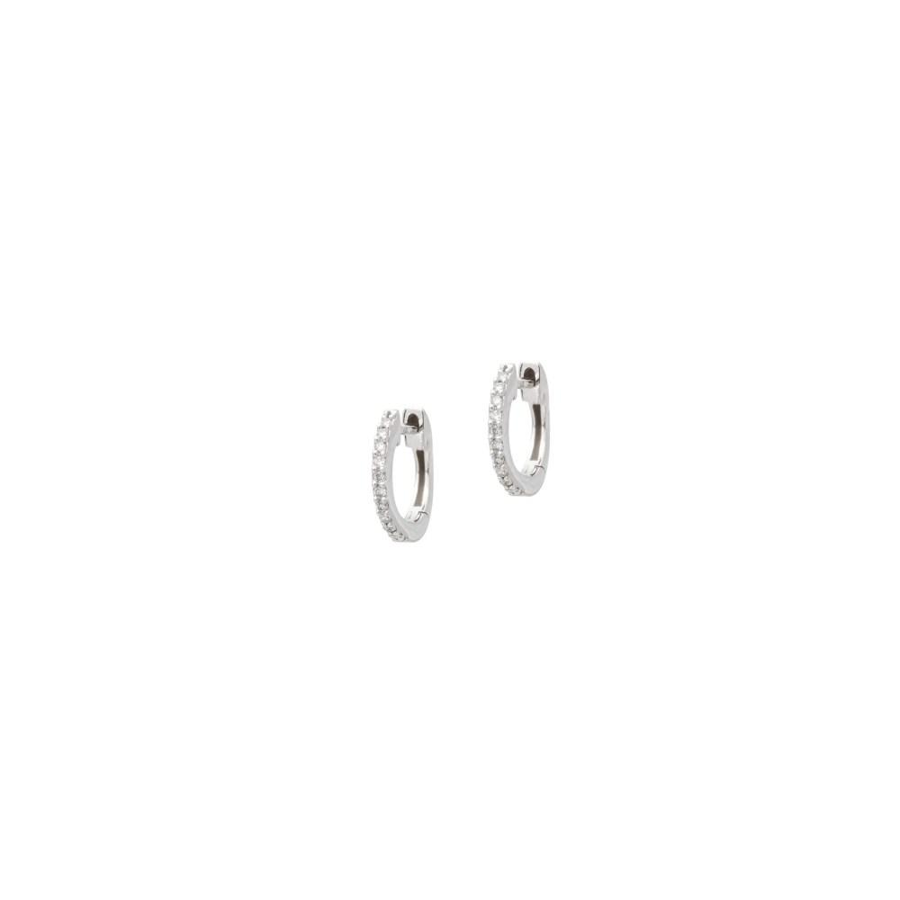 Mini Diamond Huggie Hoops White Gold