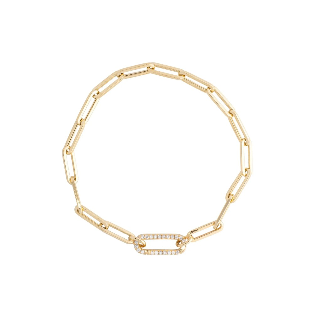Small Chain Link Bracelet + Mini Pave Diamond Gold Link Connector Clasp Yellow Gold