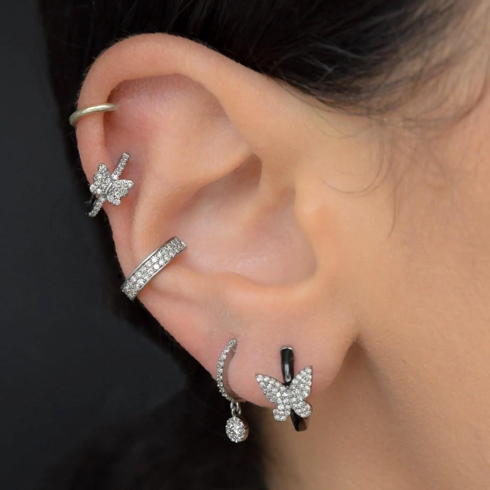 Diamond Butterfly Black Enamel Huggie Earrings