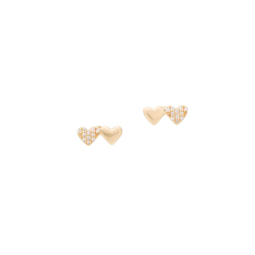 Mini Paired Diamond Heart Studs Yellow Gold