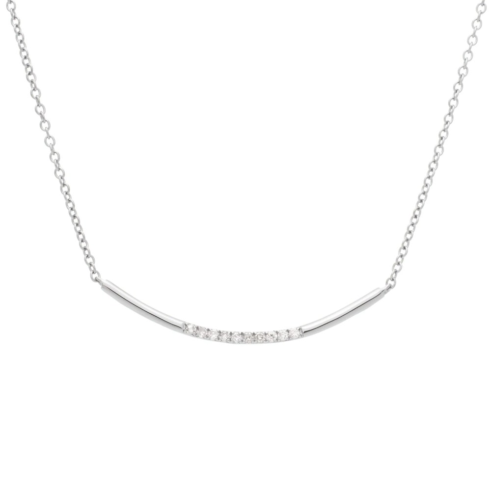 Modern Diamond Curved Bar Necklace Sterling Silver
