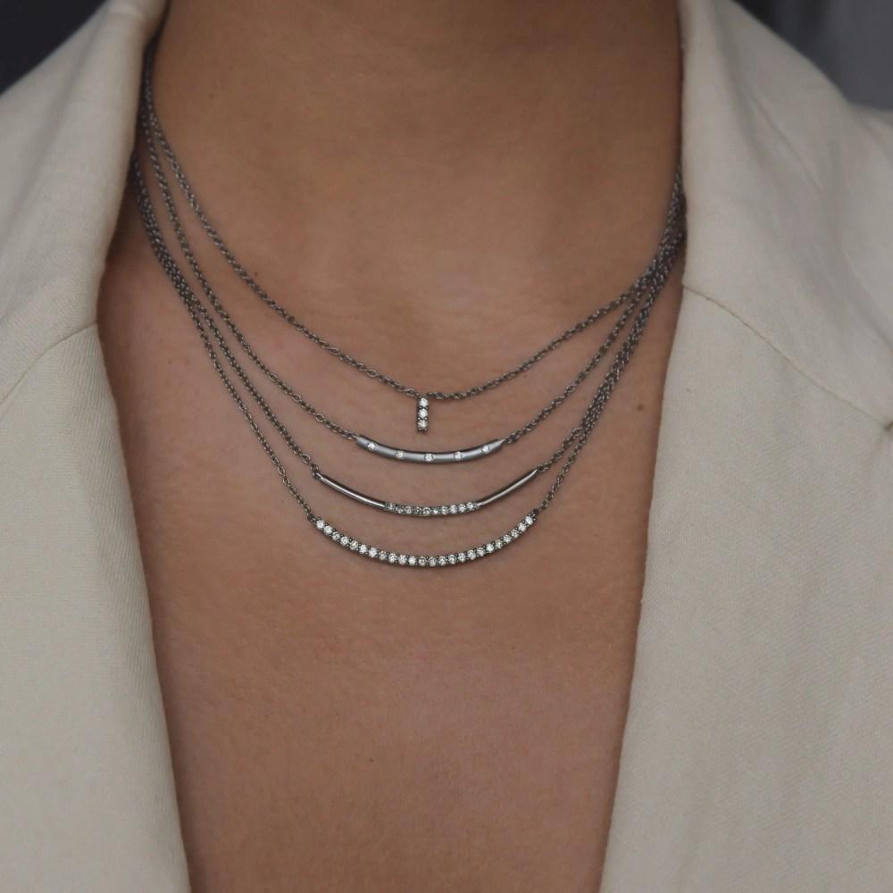 Modern Diamond Curved Bar Necklace