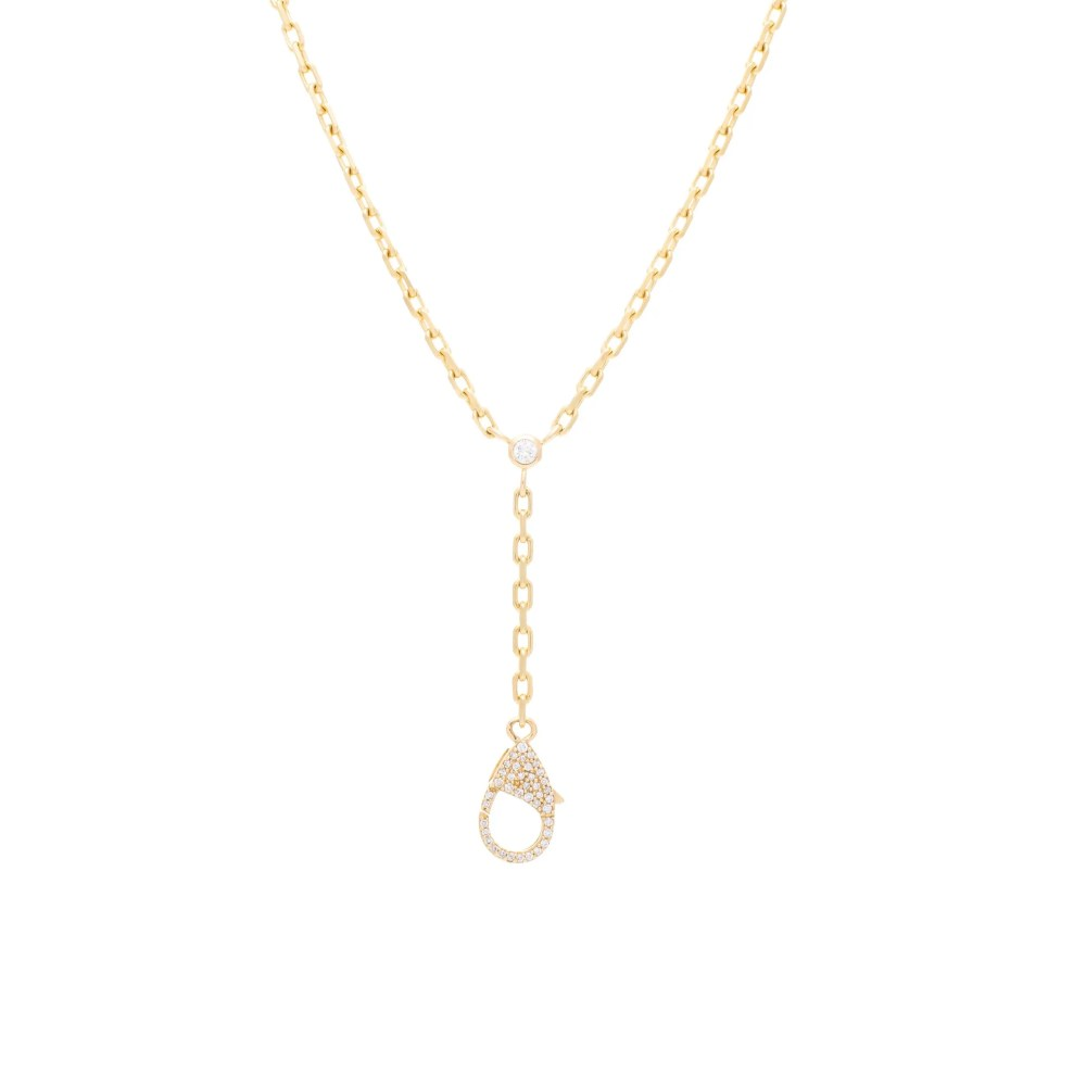 Single Diamond Y Lariat with Diamond Clasp Charm Holder Yellow Gold