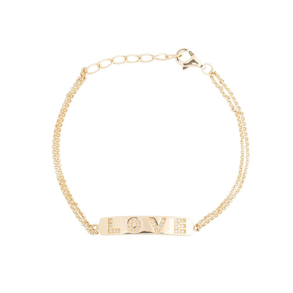 Diamond LOVE ID Double Chain Bracelet Yellow Gold