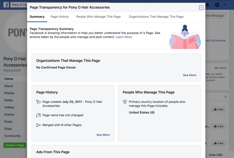 Facebook Page Transparency Window
