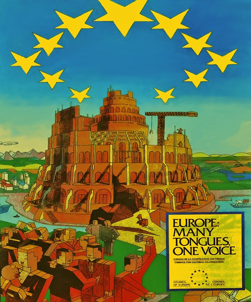A poster for the EU containing upside down pentagrams and an image that bears a striking resemblance to the tower of Babel, mentioned in the Bible.
