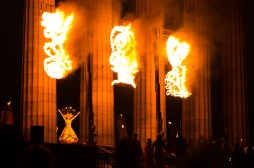 We use fire sculptures to represent the story of the changing seasons. | Copyright Mark Taylor for BFS. All rights reserved.