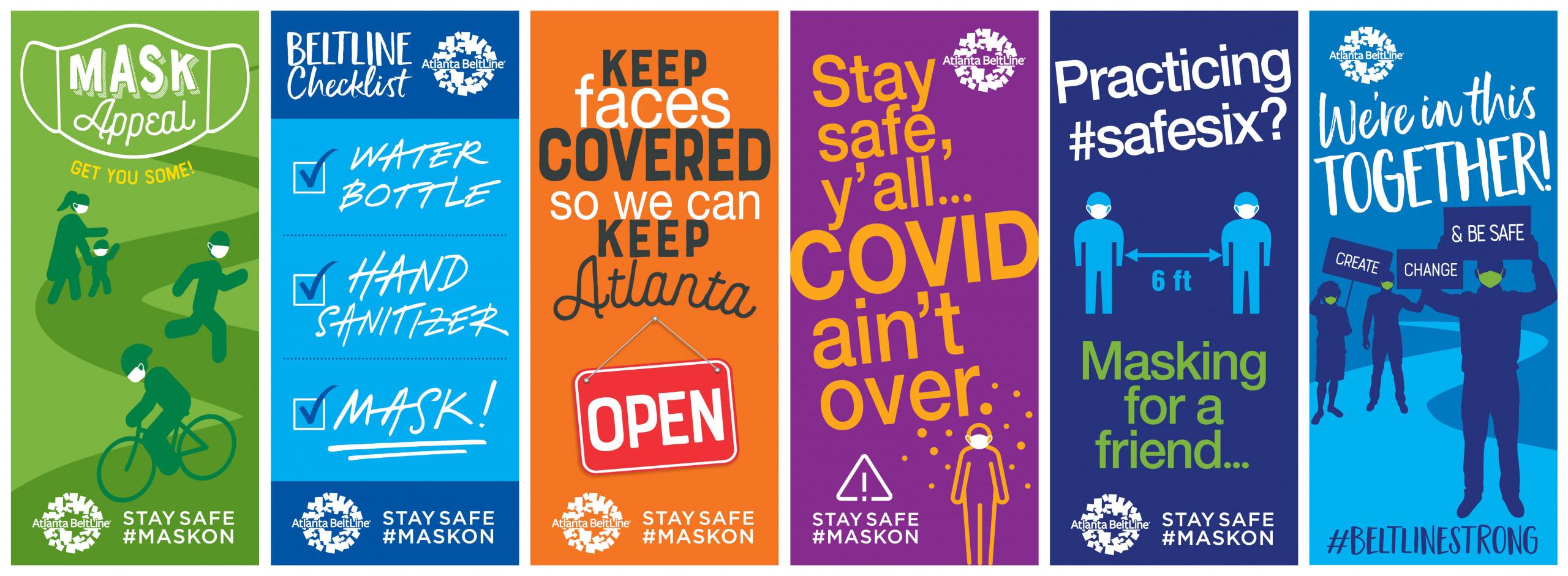 Social distancing COVID-19 Atlanta BeltLine signage