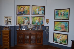 Inductee portraits and artifacts in the South Carolina Tennis Hall of Fame
