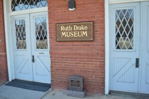 Entrance to the Ruth Drake Museum and the National Historical Register plaque for the Belton Depot