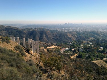 View of downtown from the Hollywood sign is a unique trait of some of LA's best hiking trails