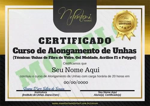 Certificado do curso de alongamento de unhas