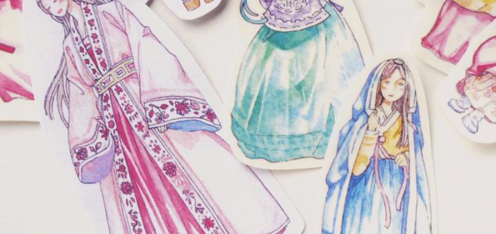 Artist in Korea: Korean hanbok stickers Illustrations