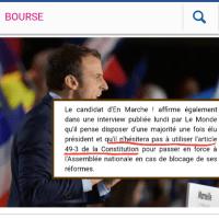 """#Macron s'affiche """"candidat de l'Art. 49.3"""", et c'est lui qui le dit ..."""