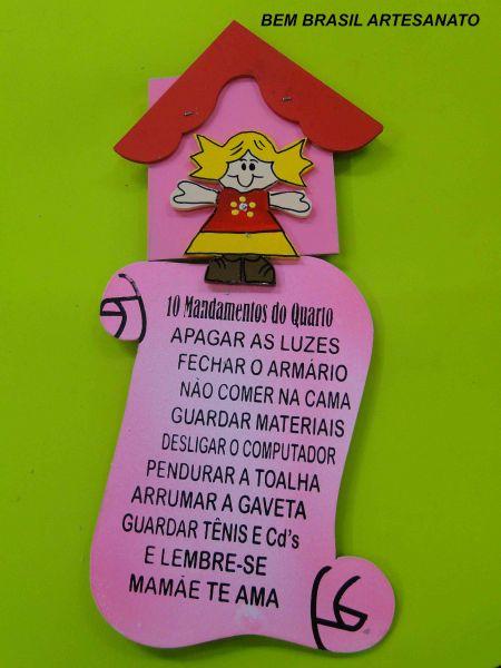 PLACA DOS 10 MANDAMENTOS DO QUARTOMENINA  Bem Brasil Artesanato1231014166981551404