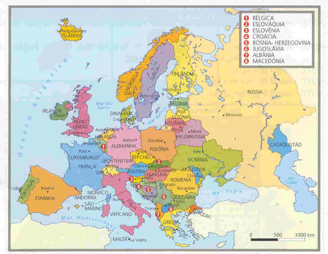 Ficha de Trabalho – A Europa (2) – Soluções