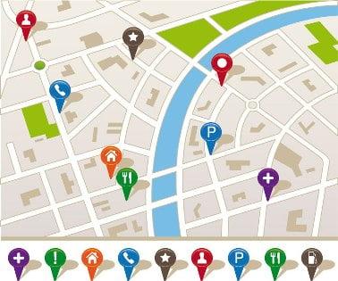 Localização em mapas de lugares importantes