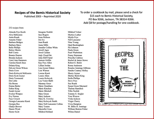 Recipes of the Bemis Historical Society