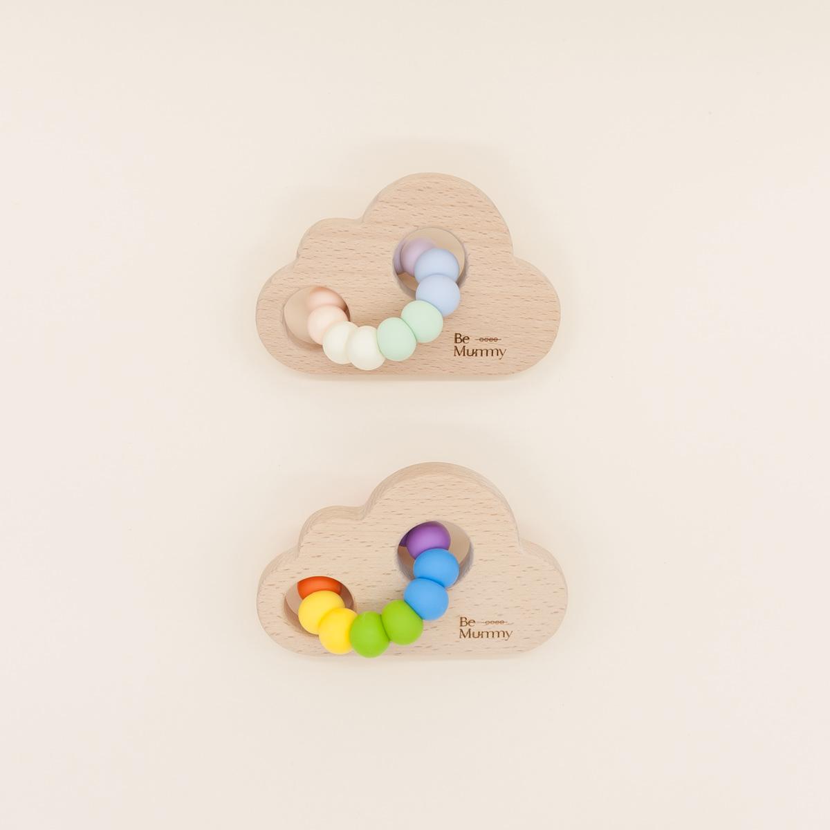 Mordedor silicona madera BeMummy Rainbow