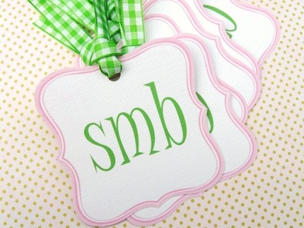 Personalized Hang Tags- $5.95 for set of 12 from paper Eclectiques (Etsy)