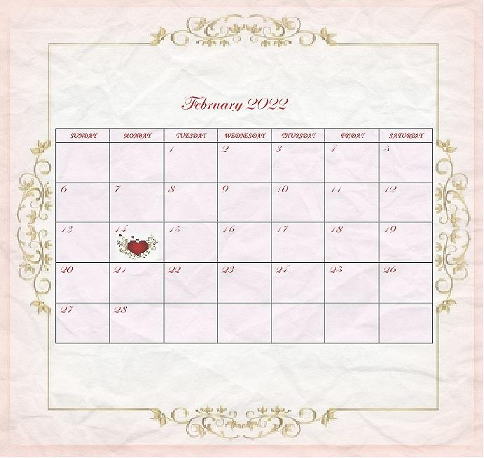 Valentine's Day Calendar 2022