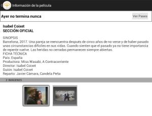 Datos de las peliculas del festival de cine de Malaga