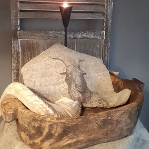 Shabby linnendoek geit 30 x 45 cm