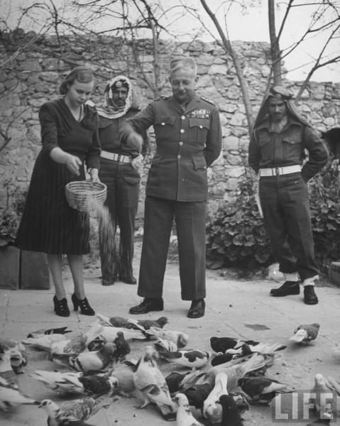 John Glubb (C) and his wife feeding pigeons. Israel. April 1948. John Phillips