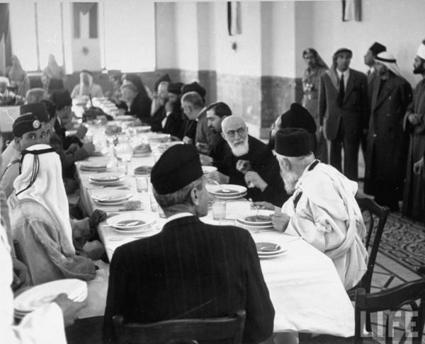 People attending banquet during truce. Jerusalem, Israel. June 1948. John Phillips