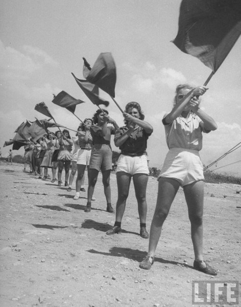 Girls bring trained in signal work at British detention camp. Cyprus. June 1948. 	Frank Scherschel