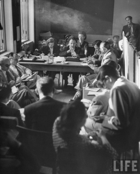 Press conference given by Moshe Shertok (center).