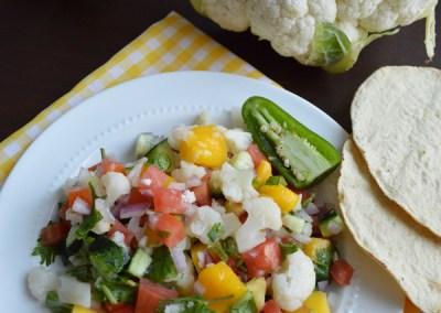 Ceviche de coliflor crujiente y fresones