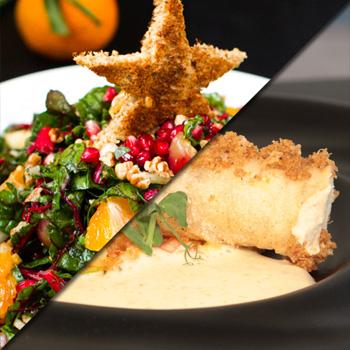 Canelón de pollo de corral con crema de verdurita de temporada gratinada.
