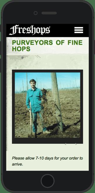 Freshops landing page on mobile (portrait)