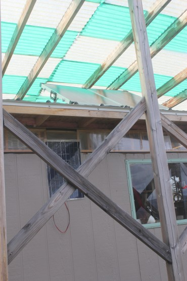 120w panel on roof, 30w panel on wall.