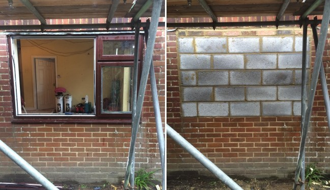 Window filled with brickwork in Burgess Hill