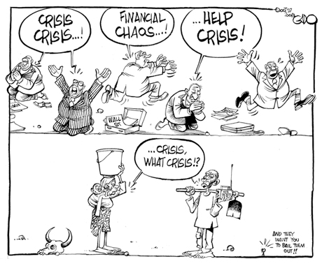 """What financial crisis?"" rural Africans (Kenyan cartoon"