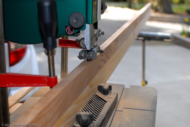 Resawing the Sapele.