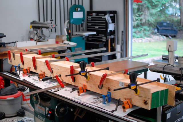 Gluing up the first quarter of the bench top.