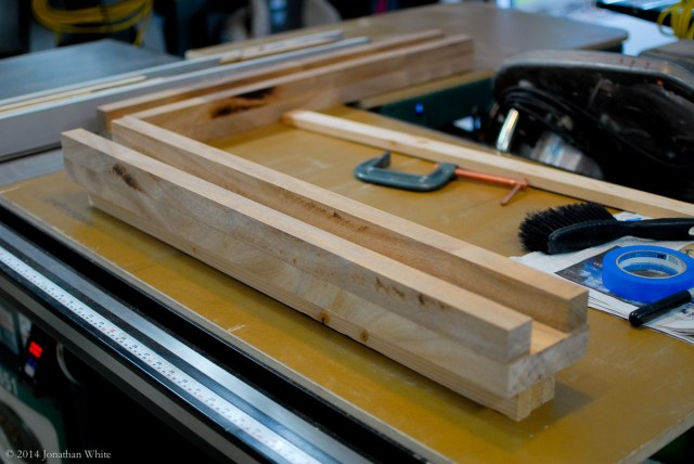 Propped up on scrap-wood to make room for the clamps.