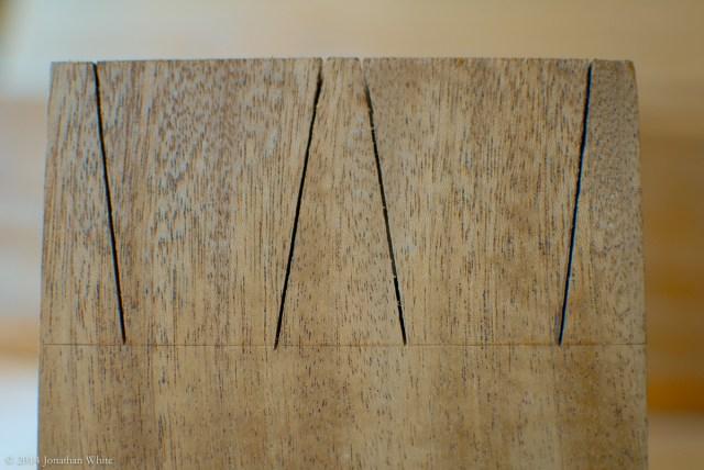 I angled the saw and cut to the baseline.